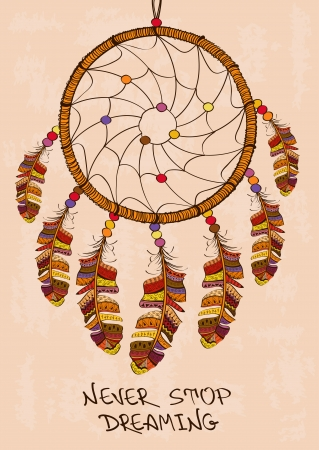 Illustration with tribal native American Indian dreamcatcher Vector