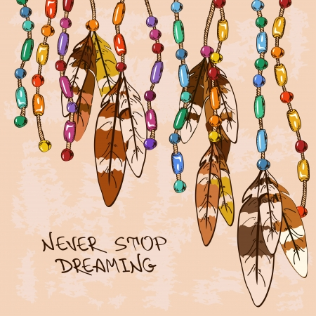 dreamcatcher: Illustration with hanging bird feathers and colorful bijouterie