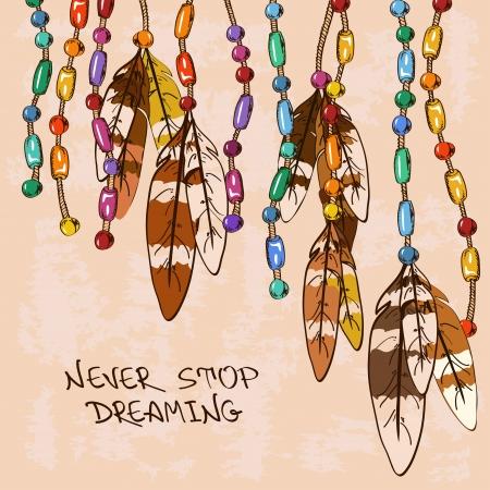 atrapasueños: Ilustración con colgantes plumas de pájaro y joyería colorida