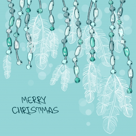 bead jewelry: Christmas card with feathers and bijouterie decoration