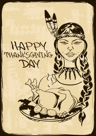 Vintage Thanksgiving card with Native American Indian girl holding dish with turkey Vector