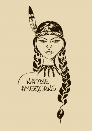 Vintage illustration with beautiful Native American Indian girl