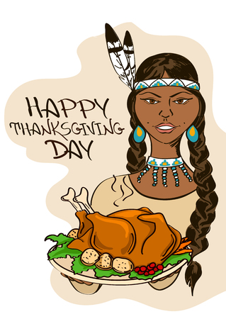 Thanksgiving card with Native American Indian girl holding dish with turkey Vector