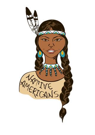 Ilustración con el aislado hermosa muchacha del nativo americano indio