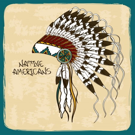 etnia: Ilustración de la vendimia con el nativo americano jefe indio tocado