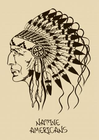 indian chief headdress: Illustrazione d'epoca con disegnato a mano nativo americano capo indiano