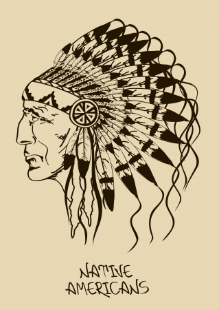 indian old man: Vintage illustration with hand drawn Native American Indian chief Illustration