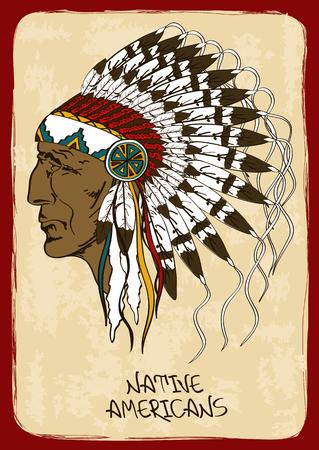 apache: Ejemplo del vintage con dibujados a mano nativo jefe indio americano Vectores