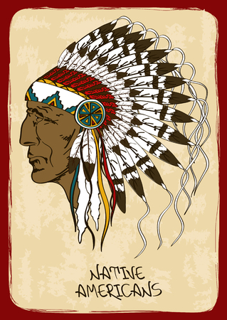 indian brave: Vintage illustration with hand drawn Native American Indian chief Illustration