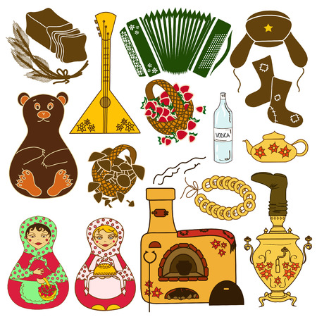 balalaika: Set of isolated colorful icons with Russian symbols