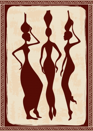 Vintage illustration with three beautiful slim African women Vector