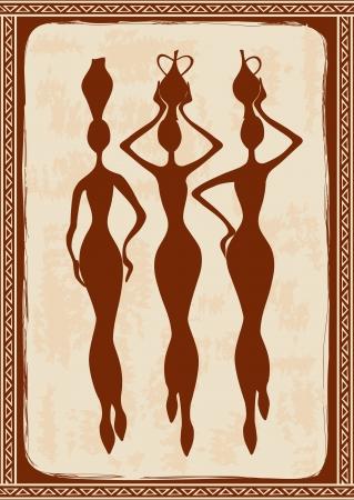 Vintage illustration with three beautiful slim African women  Vector