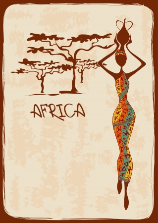 femme africaine: Illustration vintage avec belle femme africaine mince en robe color�e � motifs ethniques