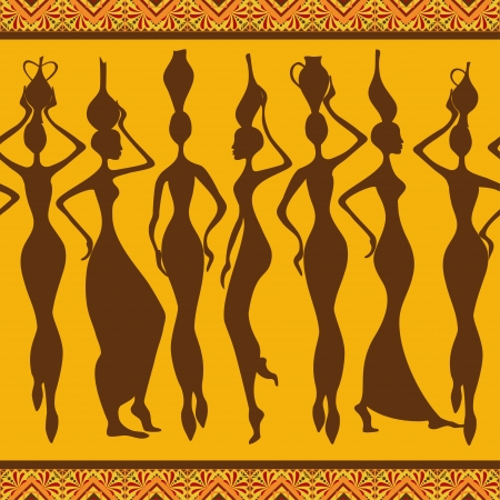 African seamless pattern with slim beautiful woman silhouettes