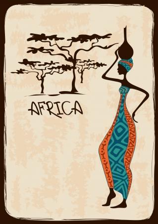 Vintage illustration with beautiful slim African woman in colorful ethnic patterned dress Ilustração