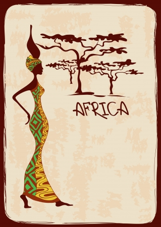 Vintage illustration with beautiful slim African woman in colorful ethnic patterned dress Иллюстрация