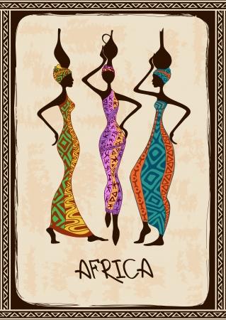 этнический: Урожай иллюстрация с трех красивых стройных африканских женщин в красочных этнических узорчатых платьях Иллюстрация