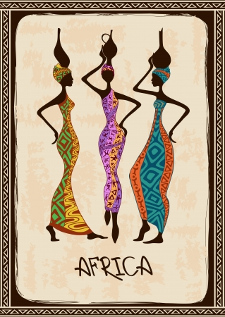 Vintage illustration with three beautiful slim African women in colorful ethnic patterned dresses
