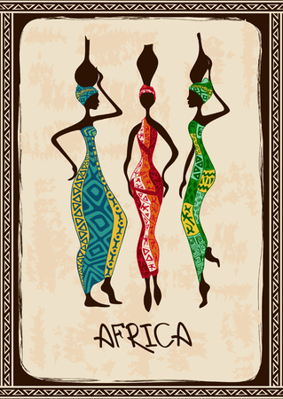 africans: Vintage illustration with three beautiful slim African women in colorful ethnic patterned dresses