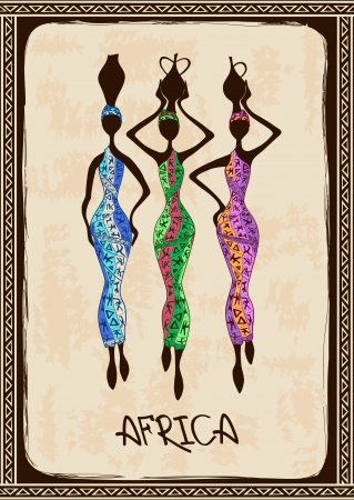 Vintage illustration with three beautiful slim African women in colorful ethnic patterned dresses Vector