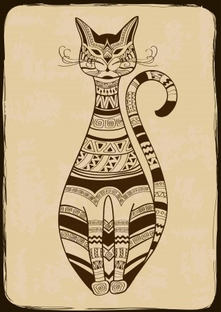 pussycat: Vintage illustration with isolated ethnic patterned cat