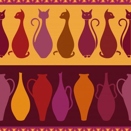 этнический: Красочные этнических бесшовные шаблон с элегантностью кошек и вазы Иллюстрация