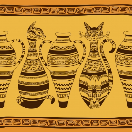 African ethnic seamless pattern with ornated cats and vases Vector