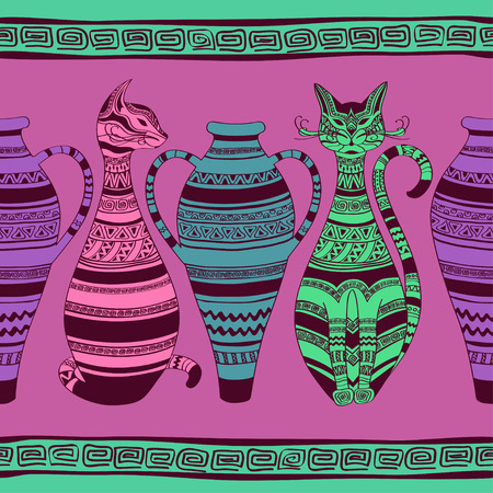 Colorful ethnic seamless pattern with ornated cats and vases Vector
