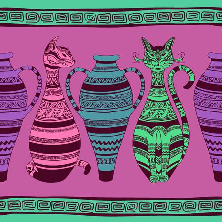 ornated: Colorful etnica seamless con i gatti ornated e vasi