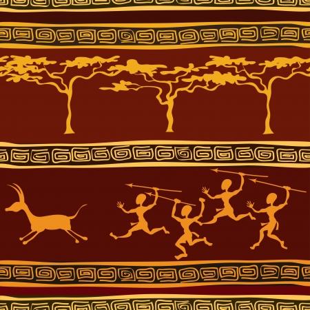aborigine: Modelo incons�til �tnico africano con la caza aborigen Vectores