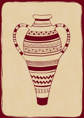 crock: Vintage illustration with ethnic ornate vase