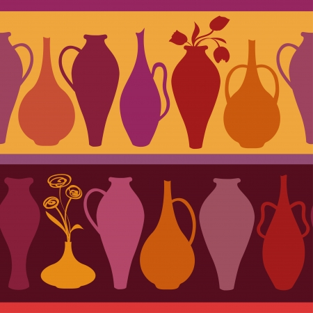 ewer: Colorful seamless pattern of elegance vases and ewers
