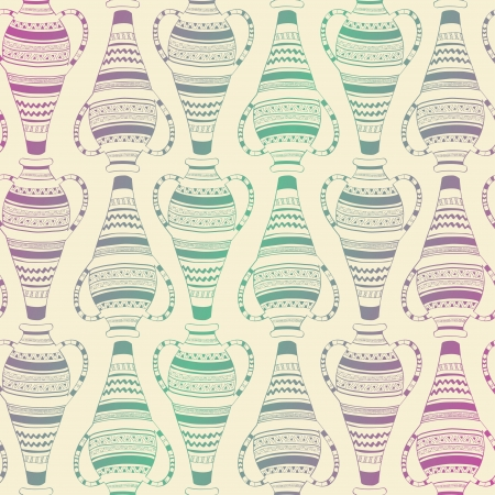 Seamless pattern of ethnic ornate vases Vector