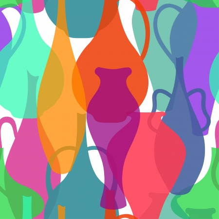 ewer: Seamless pattern of colorful vases and ewers