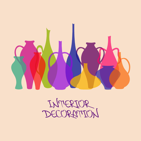 ewer: Illustration with colorful vases and ewers