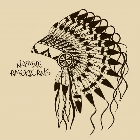 indian chief headdress: Illustrazione d'epoca con Native American capo copricapo indiano Vettoriali