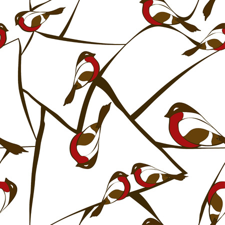 Winter seamless pattern with bullfinch birds sitting on abstract branches of tree Vector
