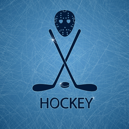 Illustration with hockey mask, sticks and puck on a ice rink textured background