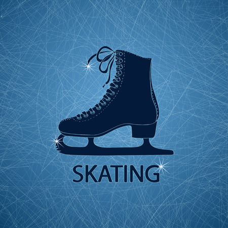 Illustration with figure skate on a ice rink textured background Vector