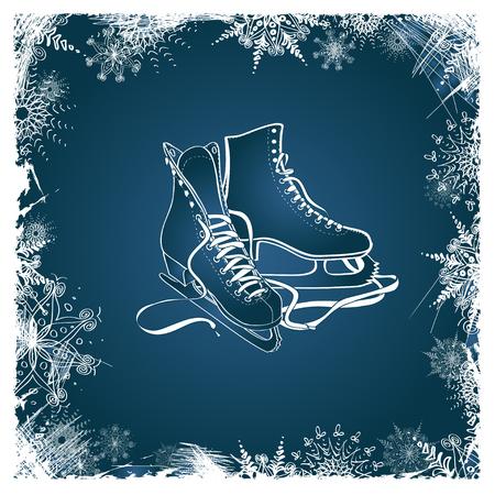 patinaje sobre hielo: Ilustración del invierno con los patines figura enmarcada por los copos de nieve