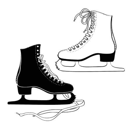 patinaje sobre hielo: Icono aislado de los hombres y las mujeres patines 's