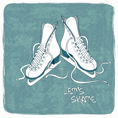 Illustration with figure skates on a vintage ice rink background Vector