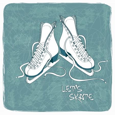 patín: Ilustración con la figura patines sobre un fondo de pista de hielo del vintage