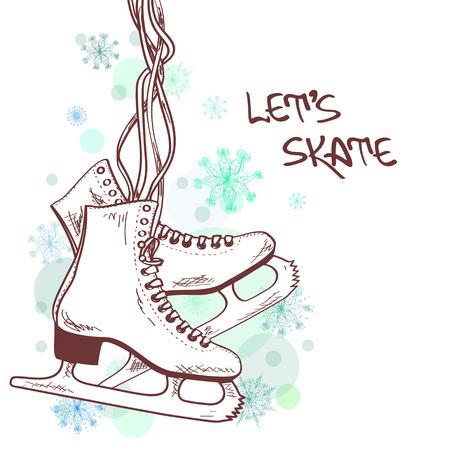 Ilustración del invierno o de la tarjeta con los patines Ilustración de vector