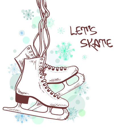 patinaje sobre hielo: Ilustración del invierno o de la tarjeta con los patines Vectores