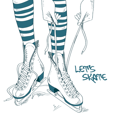 ice surface: Doodle illustration with female legs and process of lacing skates