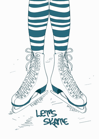 ice surface: Doodle illustration with female legs in striped tights and skates