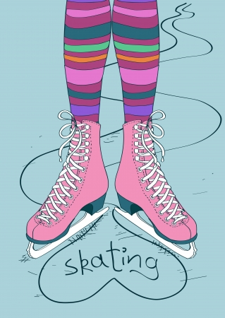 legs stockings: Doodle illustration with female legs in striped tights and skates