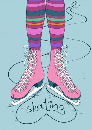 patinaje sobre hielo: Ilustración Doodle con las piernas femeninas en medias rayadas y patines Vectores