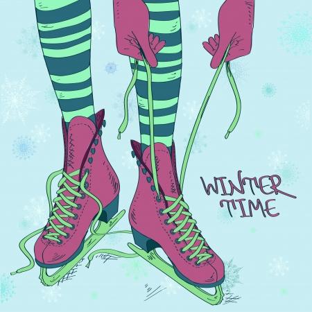 patinar: Ilustración del Doodle con las piernas femeninas y proceso de cordón patines